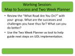 working session map to success and two week planner