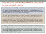 use a case study to describe the responses to a tsunami 9 marks