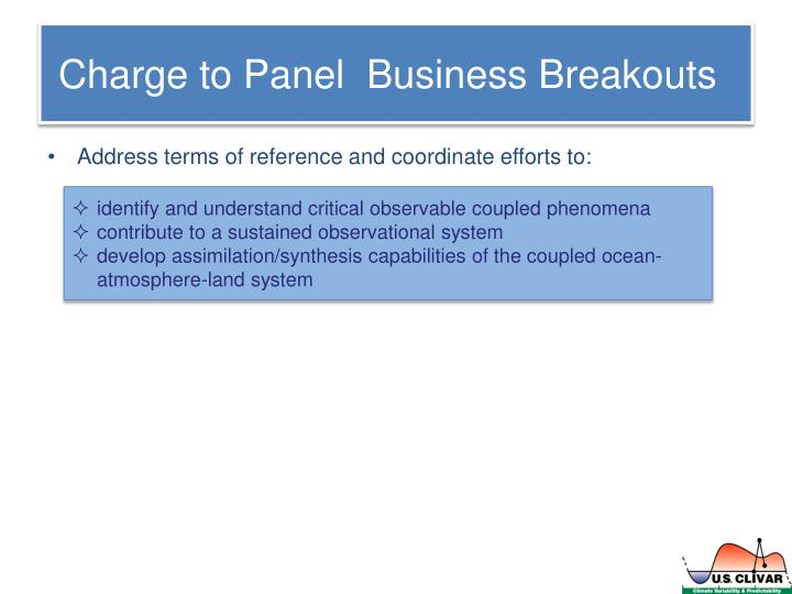 Charge to panel business breakouts
