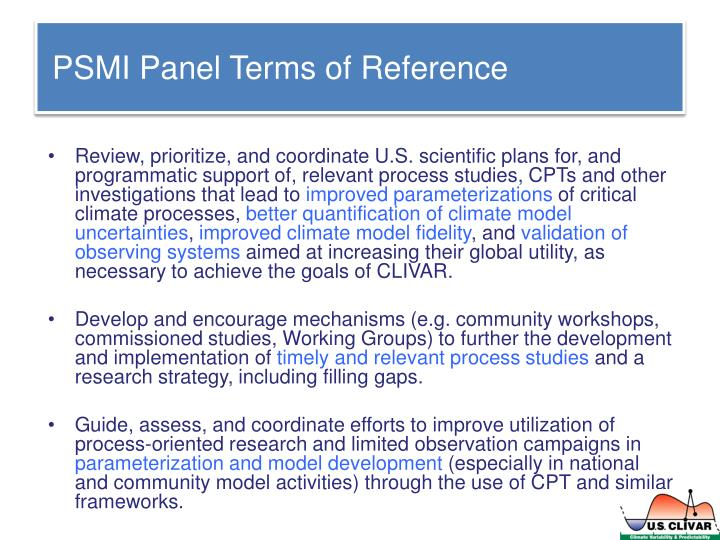 PSMI Panel Terms of Reference