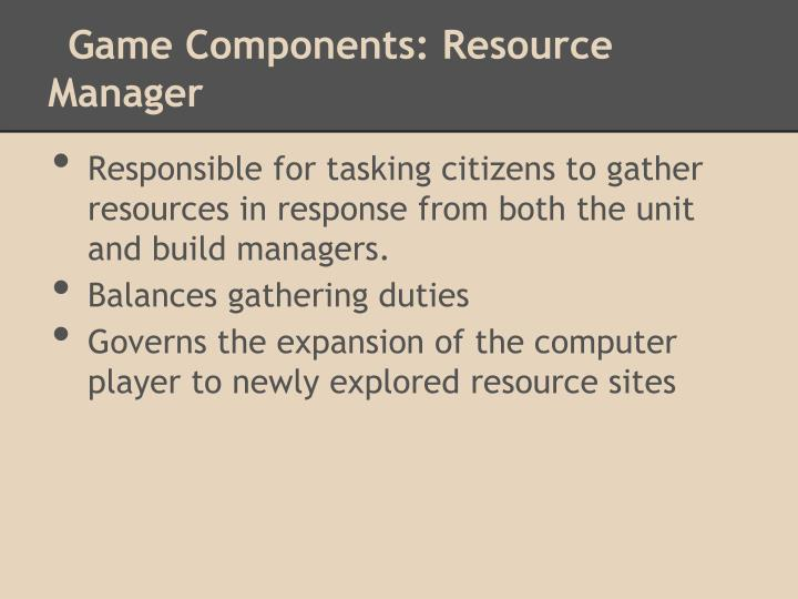 Game Components: Resource Manager