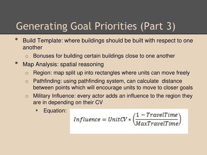 Generating Goal Priorities (Part 3)