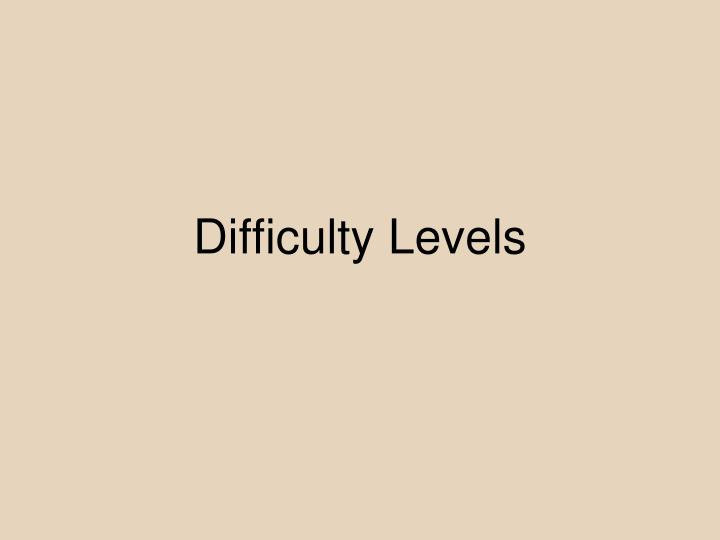 Difficulty Levels