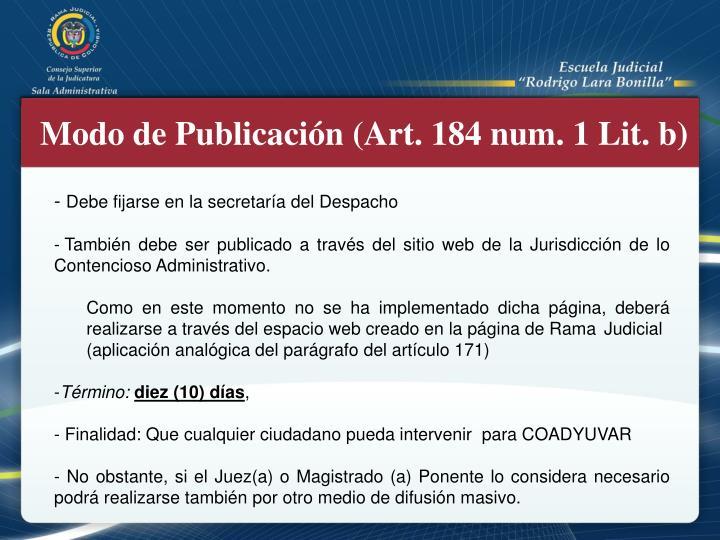 Modo de Publicación (Art. 184