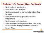 subpart c preventive controls