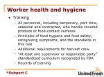 worker health and hygiene