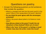 questions on poetry