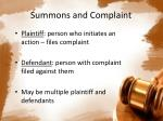 summons and complaint