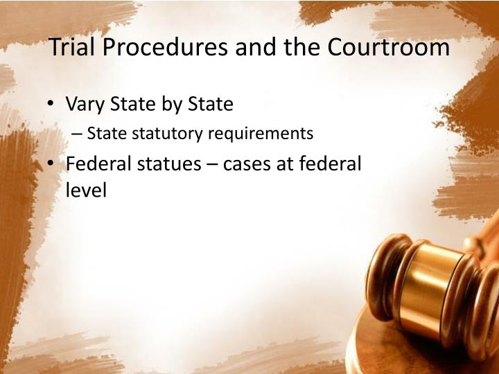 trial procedures and the courtroom n.