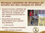 bureaux satellites de directeur de scrutin sur des campus en 2010