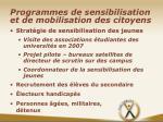 programmes de sensibilisation et de mobilisation des citoyens