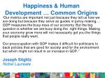 happiness human development common origins