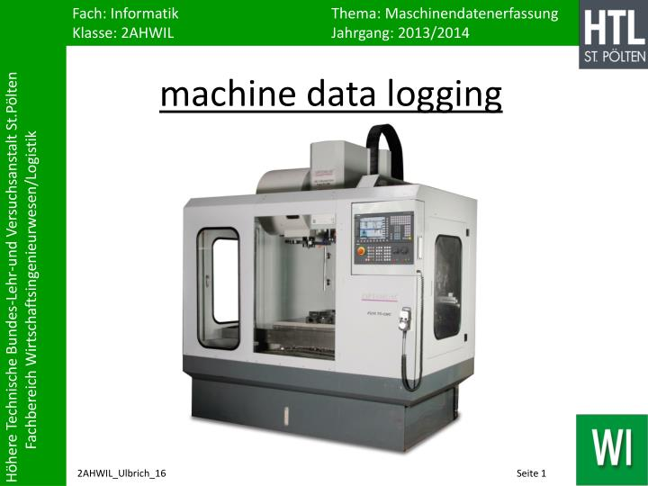 machine data logging n.