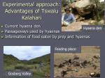 experimental approach advantages of tswalu kalahari