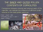 the inner and outer pollen contents of coprolites