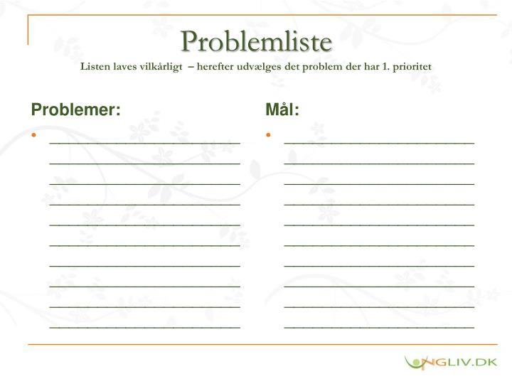 Problemliste listen laves vilk rligt herefter udv lges det problem der har 1 prioritet