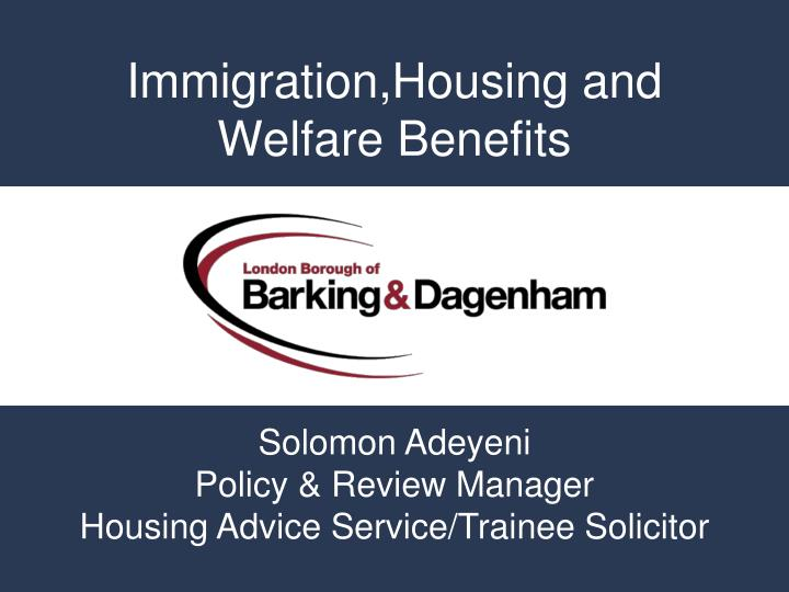 immigration housing and welfare benefits n.