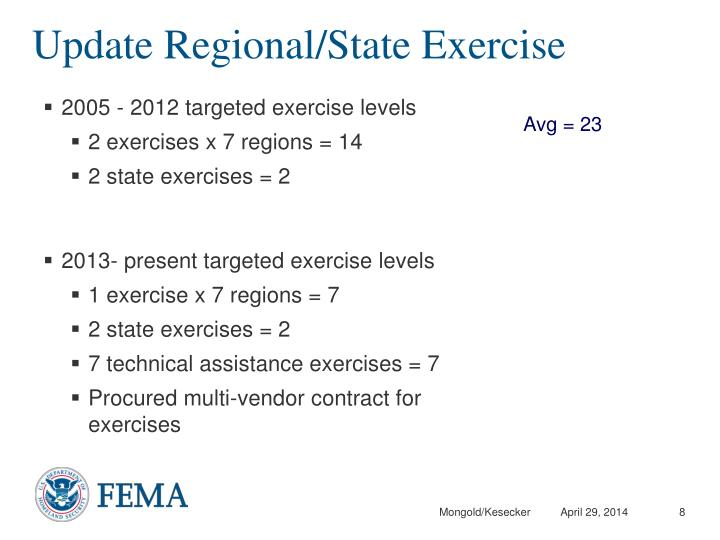 Update Regional/State Exercise