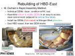 rebuilding of hbd east