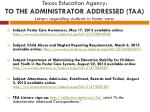 texas education agency to the administrator addressed taa letters regarding students in foster care