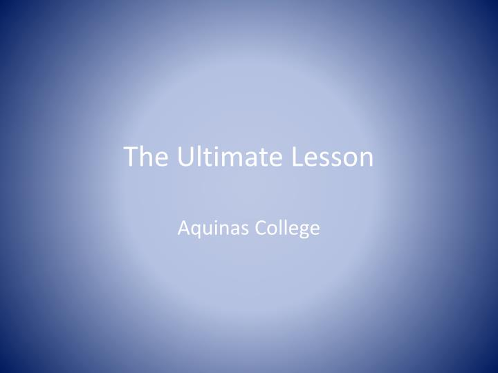 the ultimate lesson n.