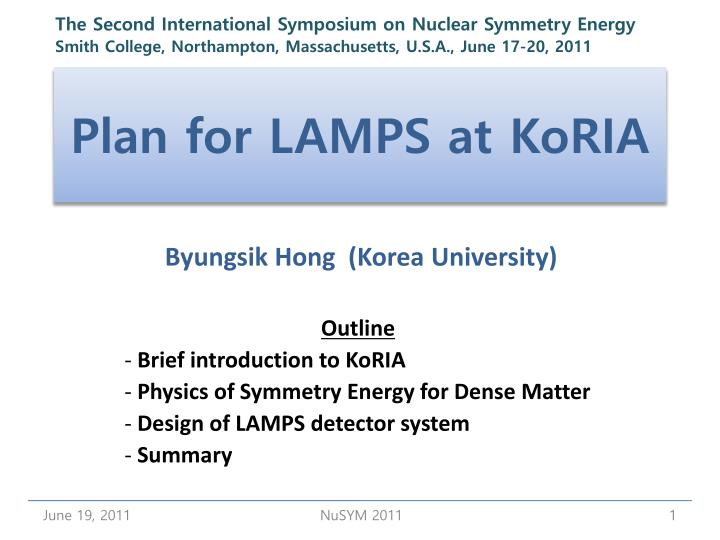 plan for lamps at koria n.