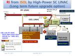 ri from isol by high power sc linac long term future upgrade option