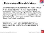 economia politica definizione