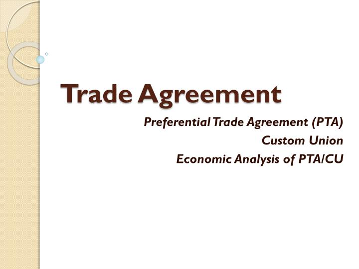 trade agreement n.