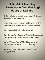 a model of learning based upon gestalt logic modes of leaning1