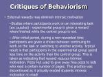 critiques of behaviorism