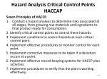 hazard analysis critical control points haccap
