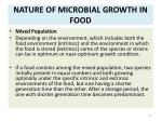 nature of microbial growth in food