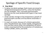 spoilage of specific food groups