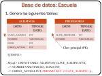 base de datos escuela