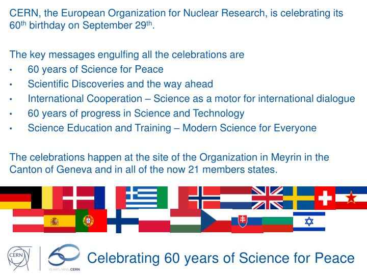 Celebrating 60 years of science for peace