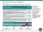 the raw score model preliminary summative score