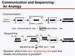 communication and sequencing an analogy