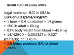 blood alcohol legal limits