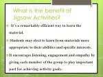 what is the benefit of jigsaw activities
