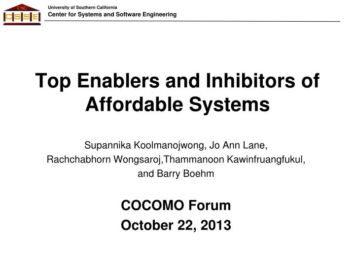 top enablers and inhibitors of affordable systems n.