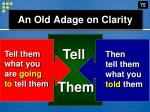 an old adage on clarity