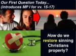 how do we restore sinning christians properly
