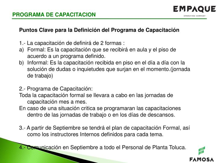 PROGRAMA DE CAPACITACION