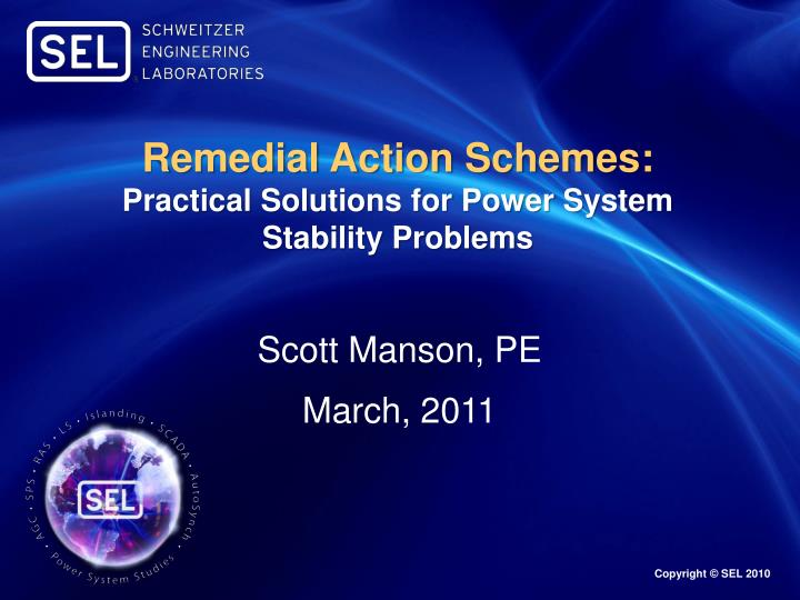 remedial action schemes practical solutions for power system stability problems n.