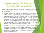 significance of the concept of revenue in price analysis