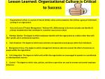lesson learned organizational culture is critical to success
