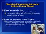 clinical and community linkages to address chronic disease