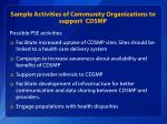 sample activities of community organizations to support cdsmp