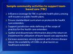 sample community activities to support team based care tbc